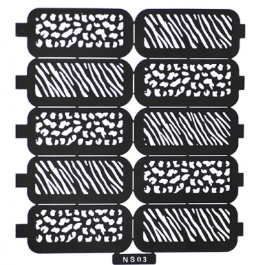 Трафарет для дизайна ногтей 3 зебра