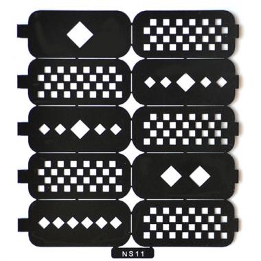 Трафарет для дизайна ногтей 7 шахматы