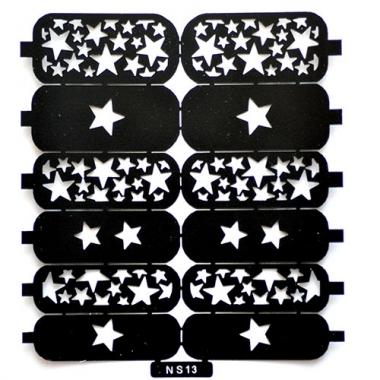 Трафарет для дизайна ногтей 9 звездочки