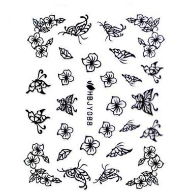 Наклейка для ногтей силиконовые 56 Изящные бабочки и цветы