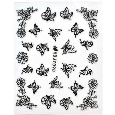 Наклейка для ногтей силиконовые 57 Черные бабочки и цветы
