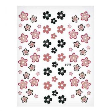 Наклейка для ногтей объемные 48 Черно-красные цветочки