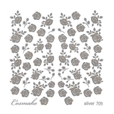 Слайдер Дизайн 709 фольг/серебро голография Розы