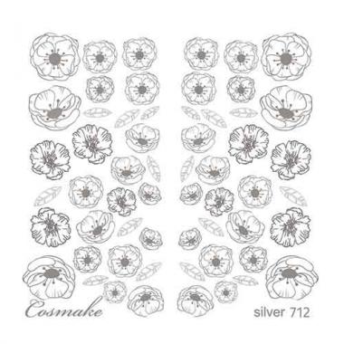 Слайдер Дизайн 712 фольг/серебро голография Маковое поле