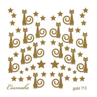 Слайдер Дизайн 713 фольг/золото Кошки