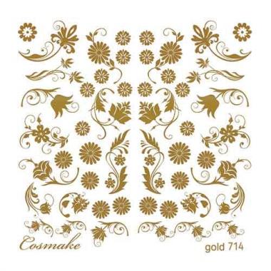 Слайдер Дизайн 714 фольг/золото Цветочные узоры