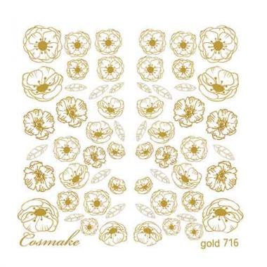Слайдер Дизайн 716 фольгированный золото Маковое поле