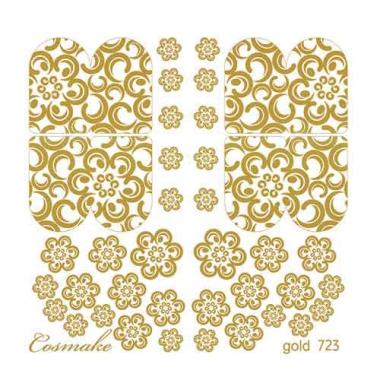 Слайдер Дизайн 723 фольгированный золото Цветы