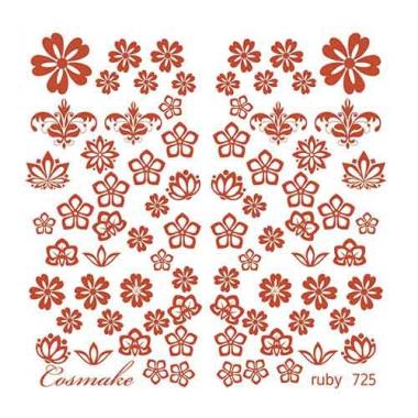 Слайдер Дизайн 725 фольгированный красный Цветы