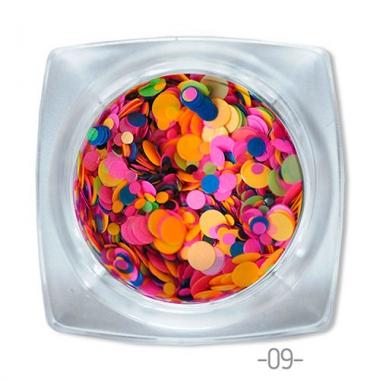 09 конфетти для дизайна ногтей Круглые
