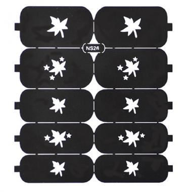 Трафарет для дизайна ногтей 17 листья