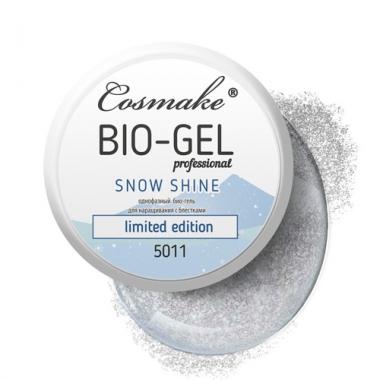 Гель Bio/LED прозрачный с блёстками Cosmake 15 гр. (5011)  Germany
