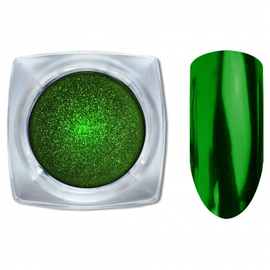 10 Зеркальный блеск ХРОМ втирка для ногтей 0,2гр. Cosmake Темно-Зеленый