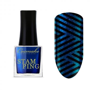17 Лак для Стемпинга 9мл Cosmake синий металлик
