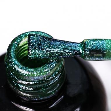 0197Гель-лак с липким слоем 11мл Cosmake зеленый с синими блестками